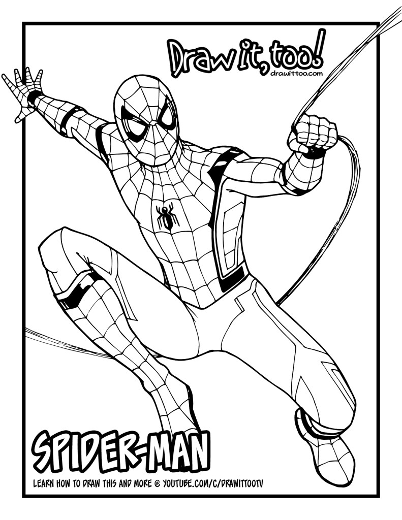 coloring spider man far from home how to draw spider man spider man homecoming drawing spider coloring home far man from
