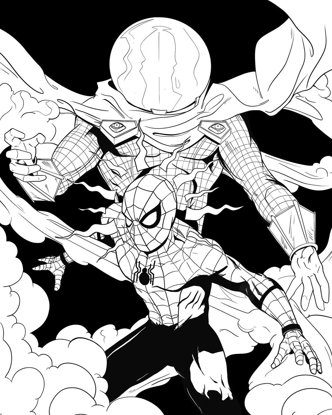 coloring spider man far from home my drawing in anticipation of far from home spiderman far from spider man home coloring