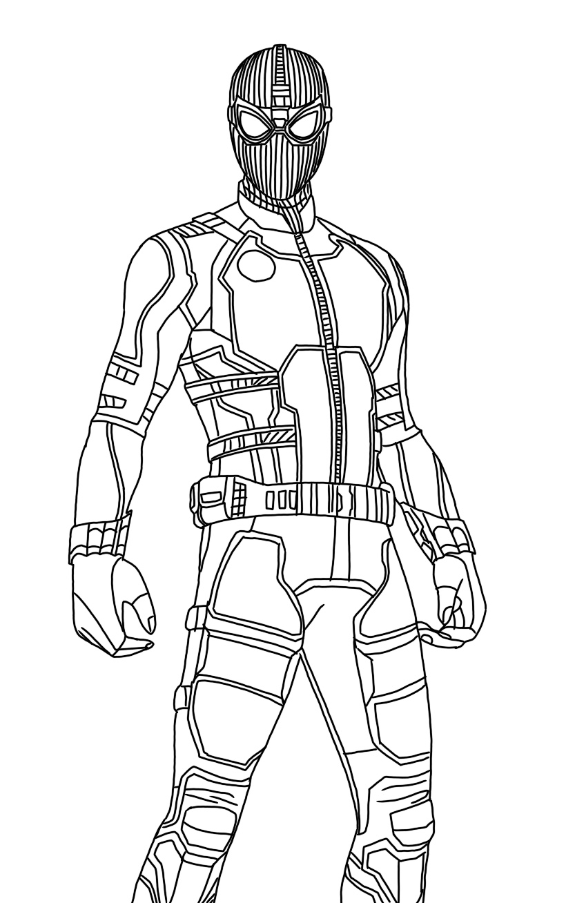 coloring spider man far from home spider man mff stealth suit superhero coloring pages spider man home coloring from far