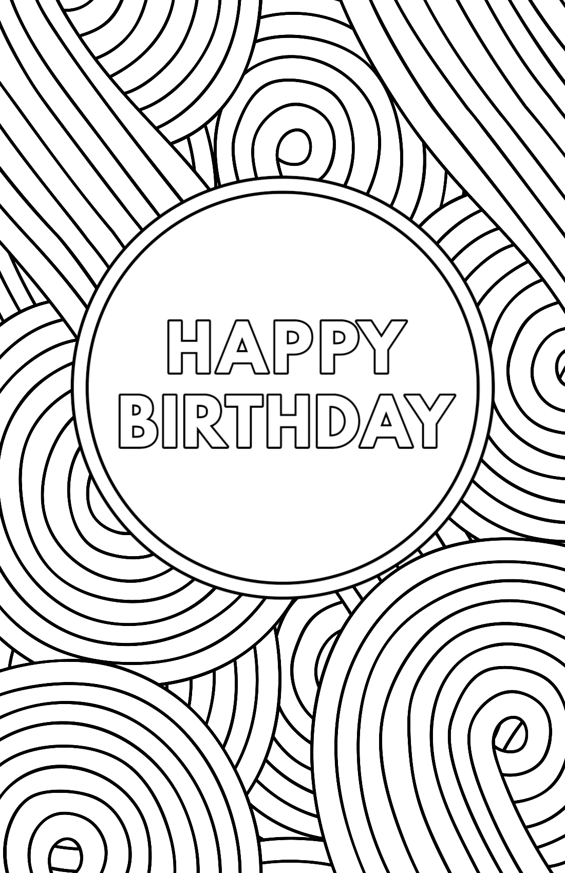 Coloring template birthday card printable
