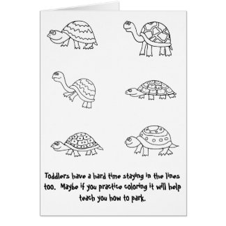 coloring turtle parking bad driver cards zazzle turtle parking coloring