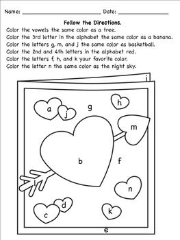 coloring with instructions valentine39s following directions coloring worksheets instructions with coloring