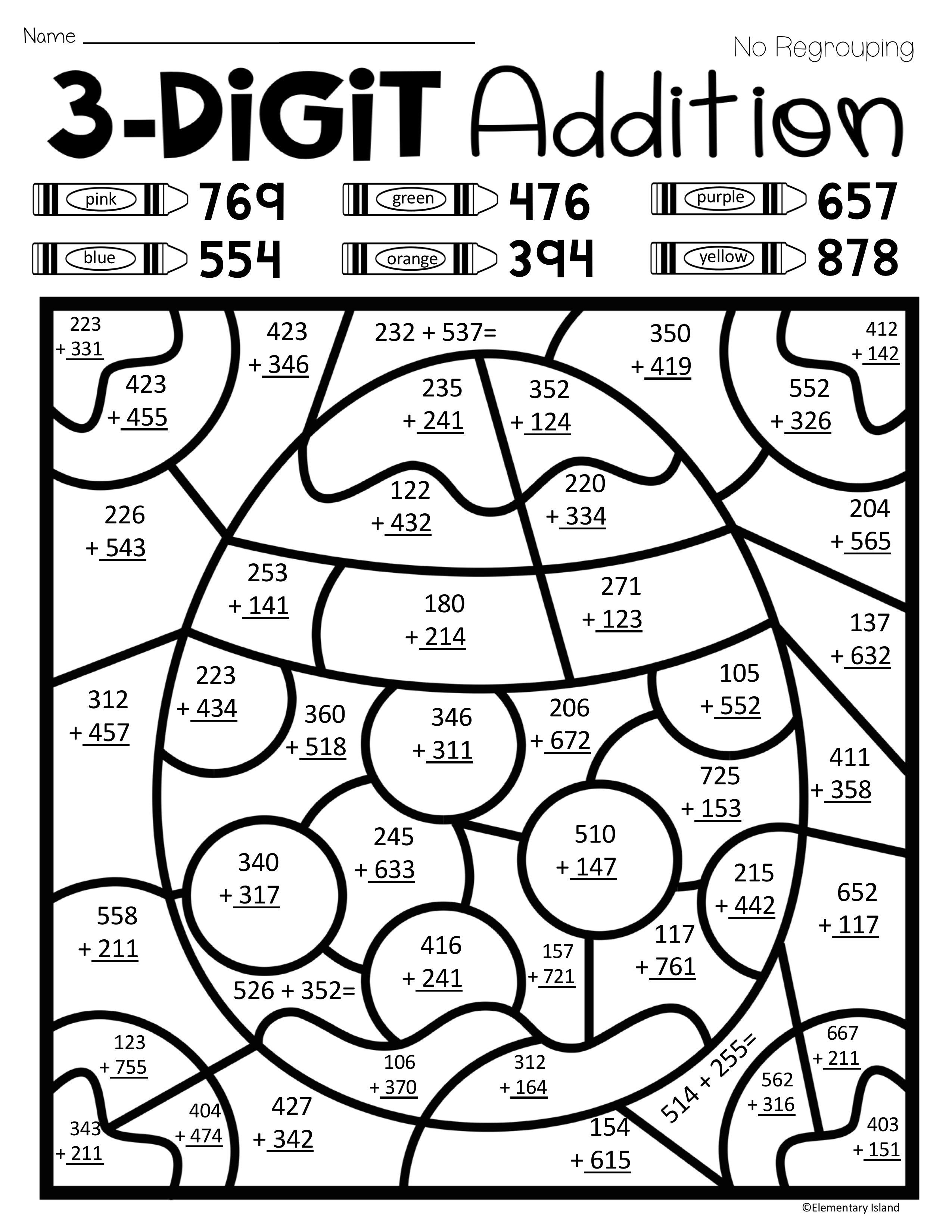 coloring worksheets for grade 3 easter spring three digit addition color by number with worksheets 3 grade for coloring