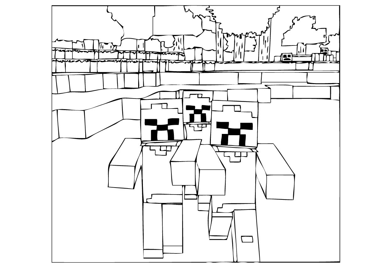 coloring zombie minecraft minecraft zombies coloring page minecraft zombie coloring