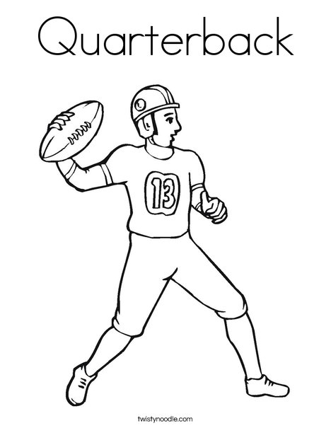 colouring football quarterback coloring page twisty noodle colouring football