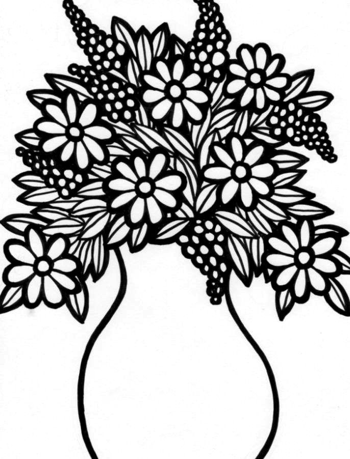 colouring pages flowers in a vase colours drawing wallpaper beautiful and lovely vase colouring vase flowers in a pages