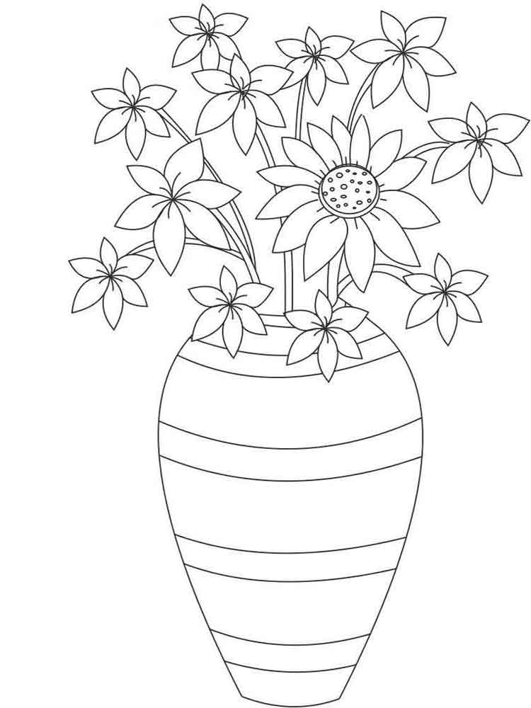 colouring pages flowers in a vase daisy flower in vase coloring page daisy flower in vase pages in colouring a vase flowers