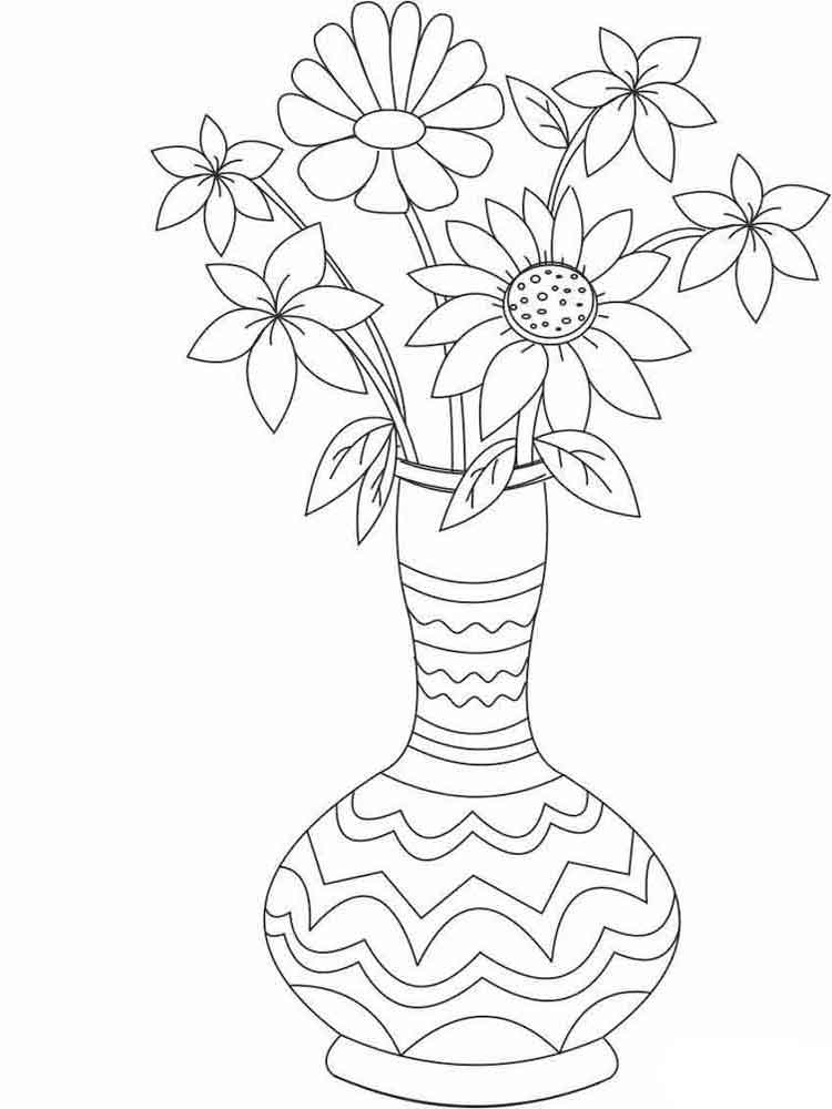 colouring pages flowers in a vase flower vase coloring pages at getcoloringscom free a vase flowers in pages colouring