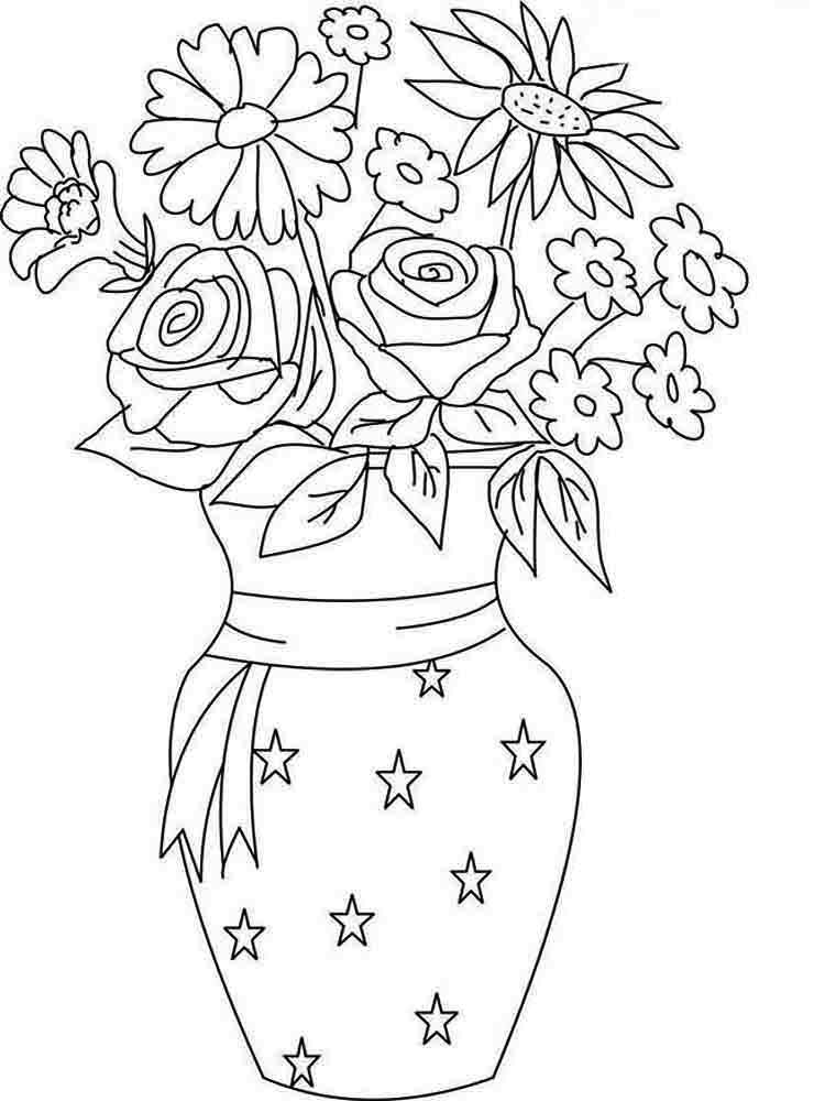 colouring pages flowers in a vase picture of flower bouquet in vase coloring page picture colouring in pages vase flowers a