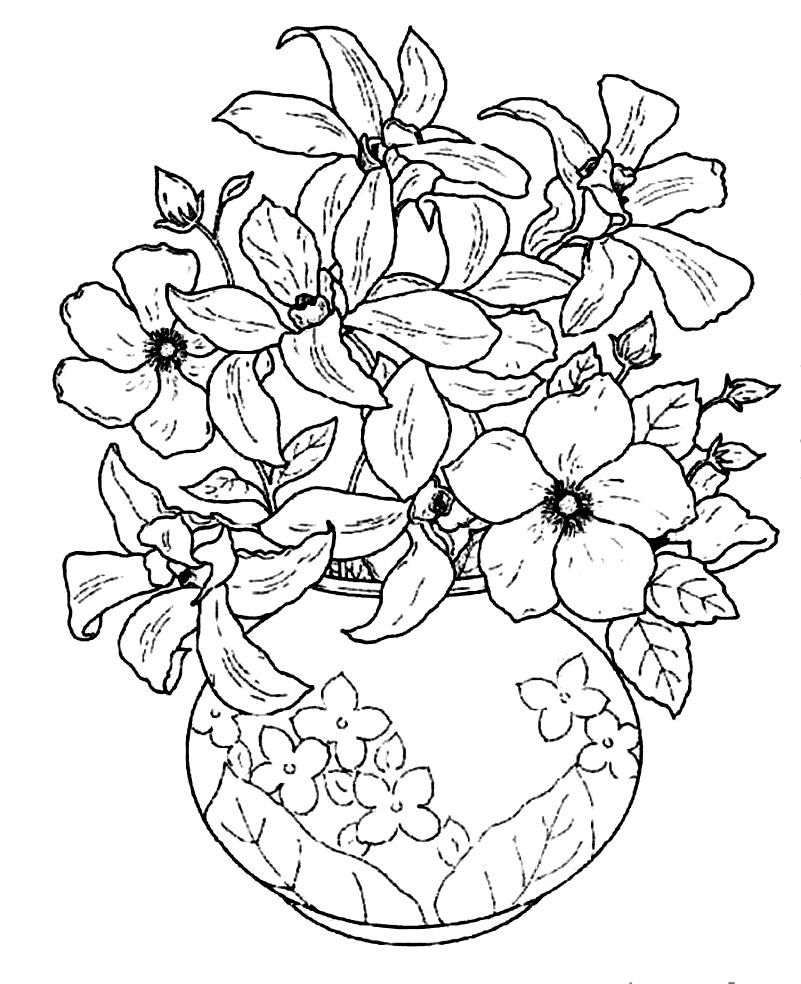Colouring pages flowers in a vase