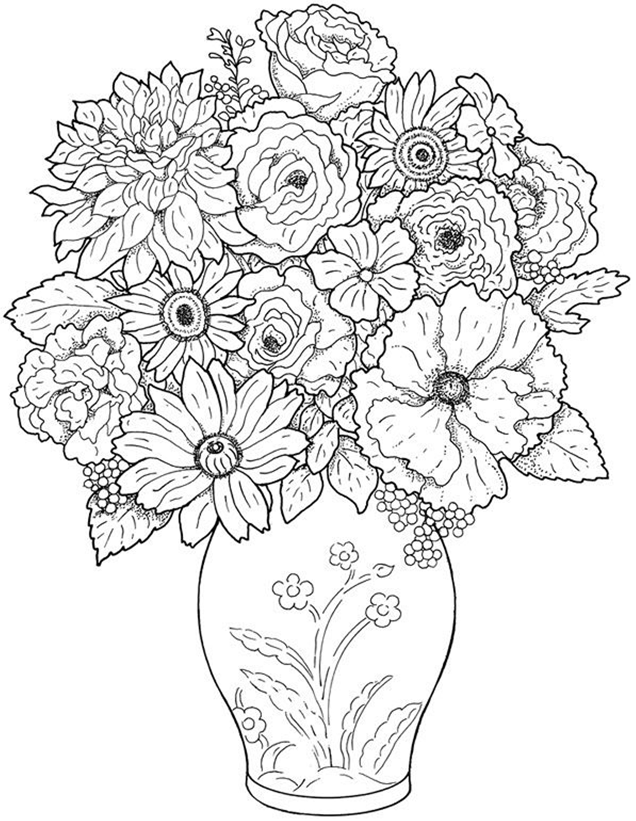 colouring pages flowers in a vase vase coloring page at getcoloringscom free printable pages vase flowers a in colouring