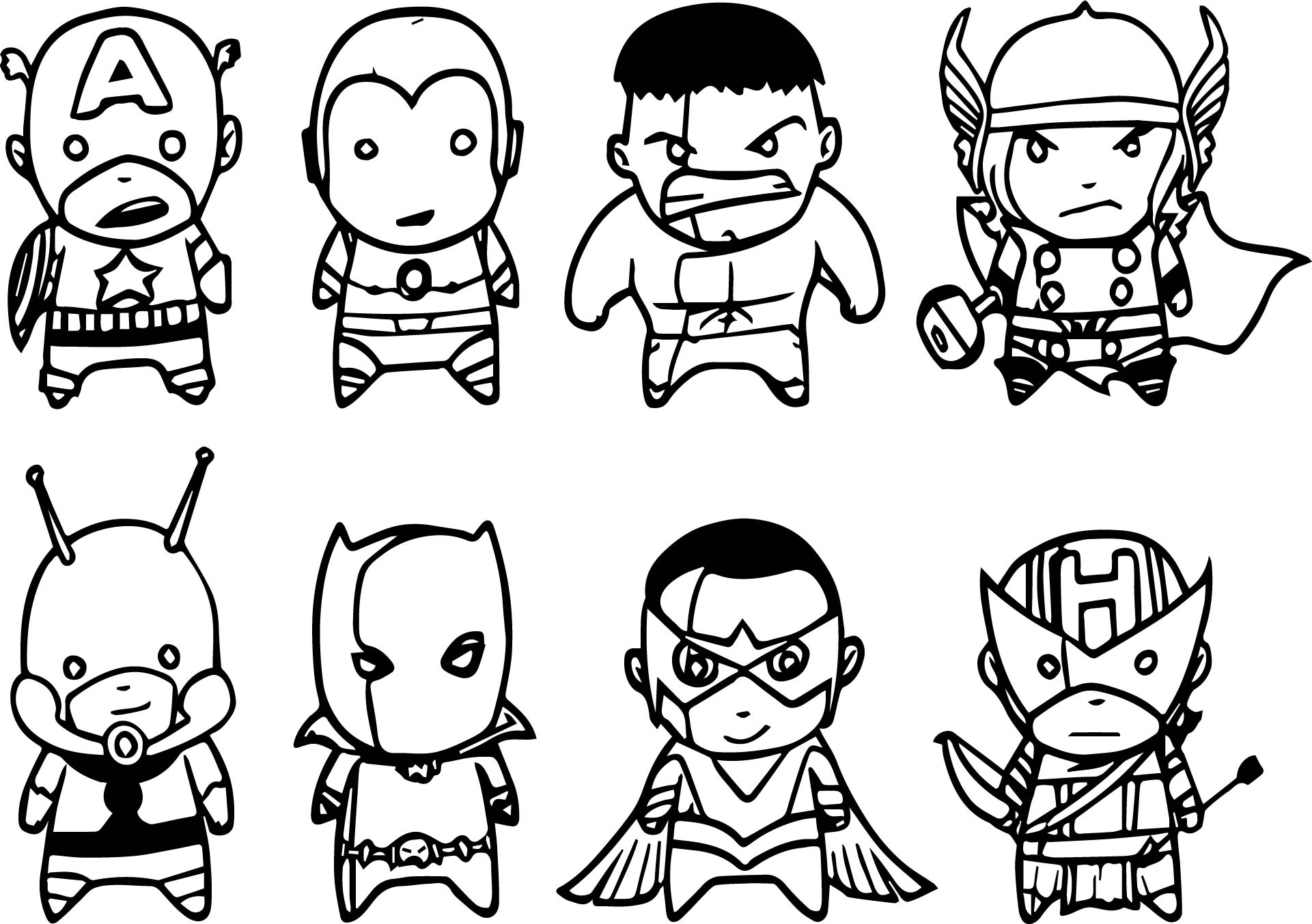 Cute avengers coloring pages