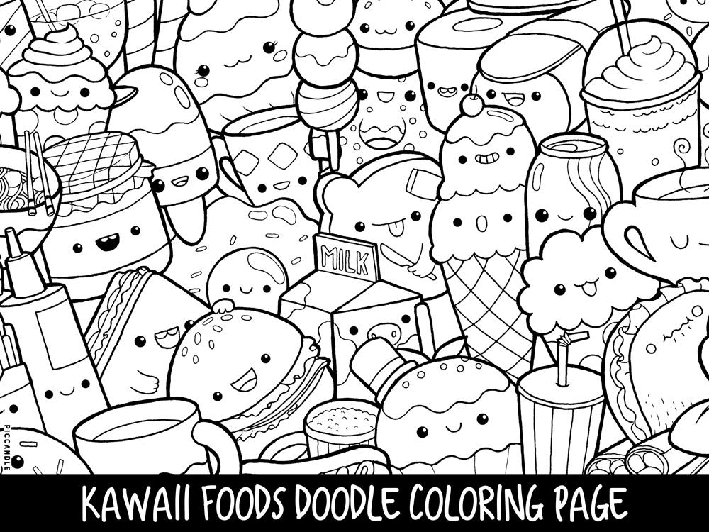 cute coloring sheets foods doodle coloring page printable cutekawaii coloring cute sheets coloring