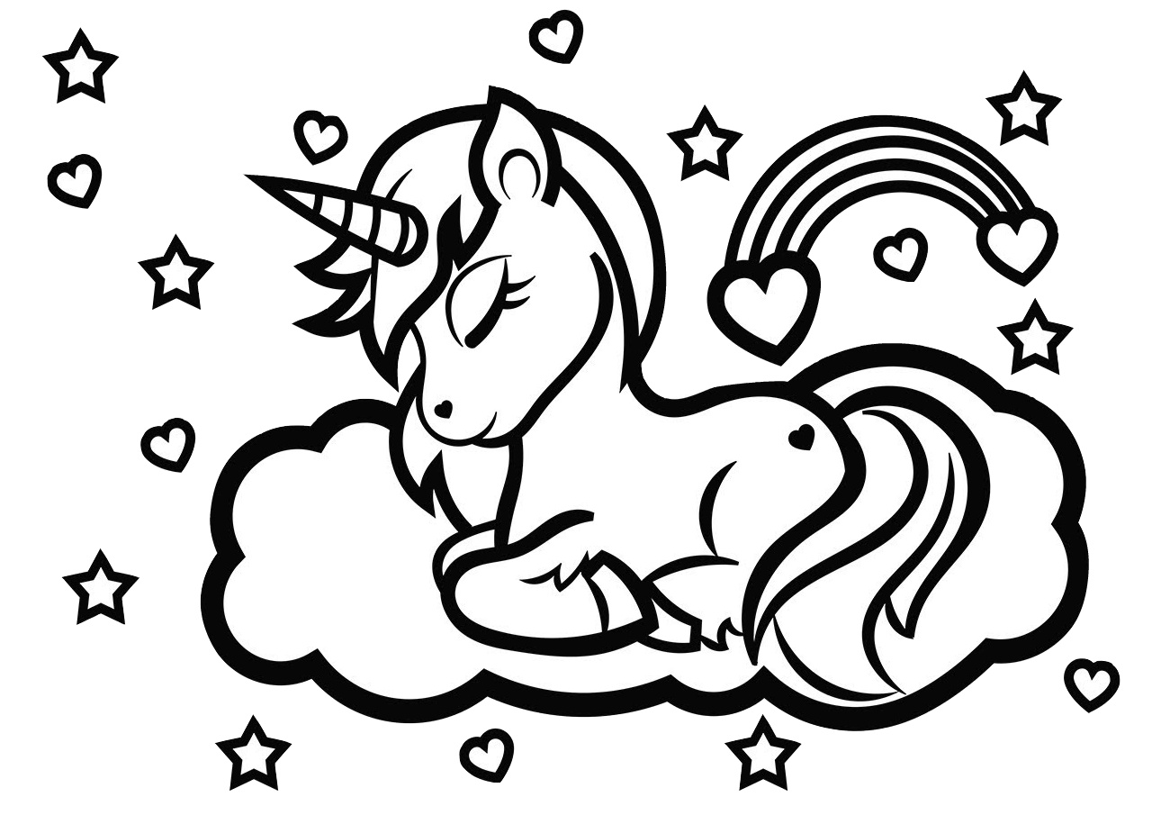 cute easy unicorn coloring pages cute unicorn with watermelon coloring pages for you pages unicorn cute easy coloring