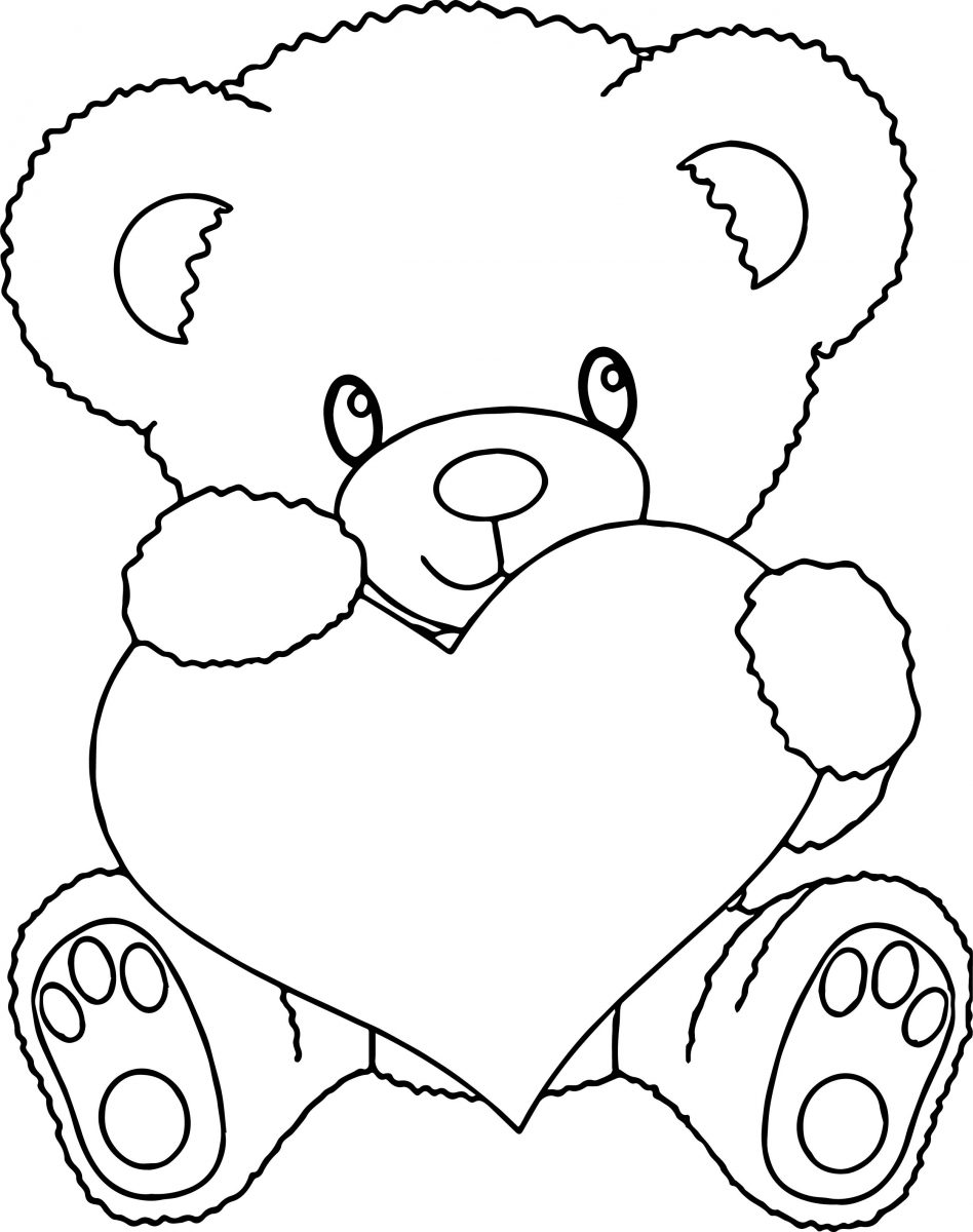 cute heart coloring pages teddy bear holding a heart coloring pages at getcolorings pages coloring cute heart