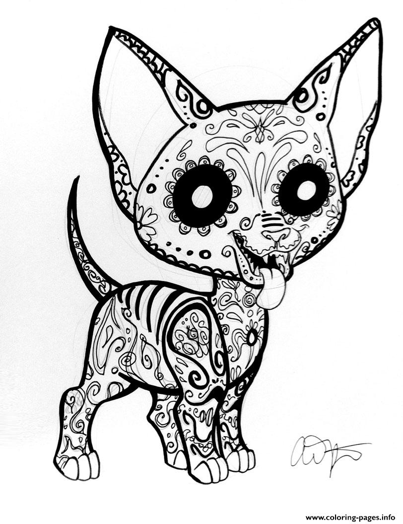 Cute sugar skull coloring pages