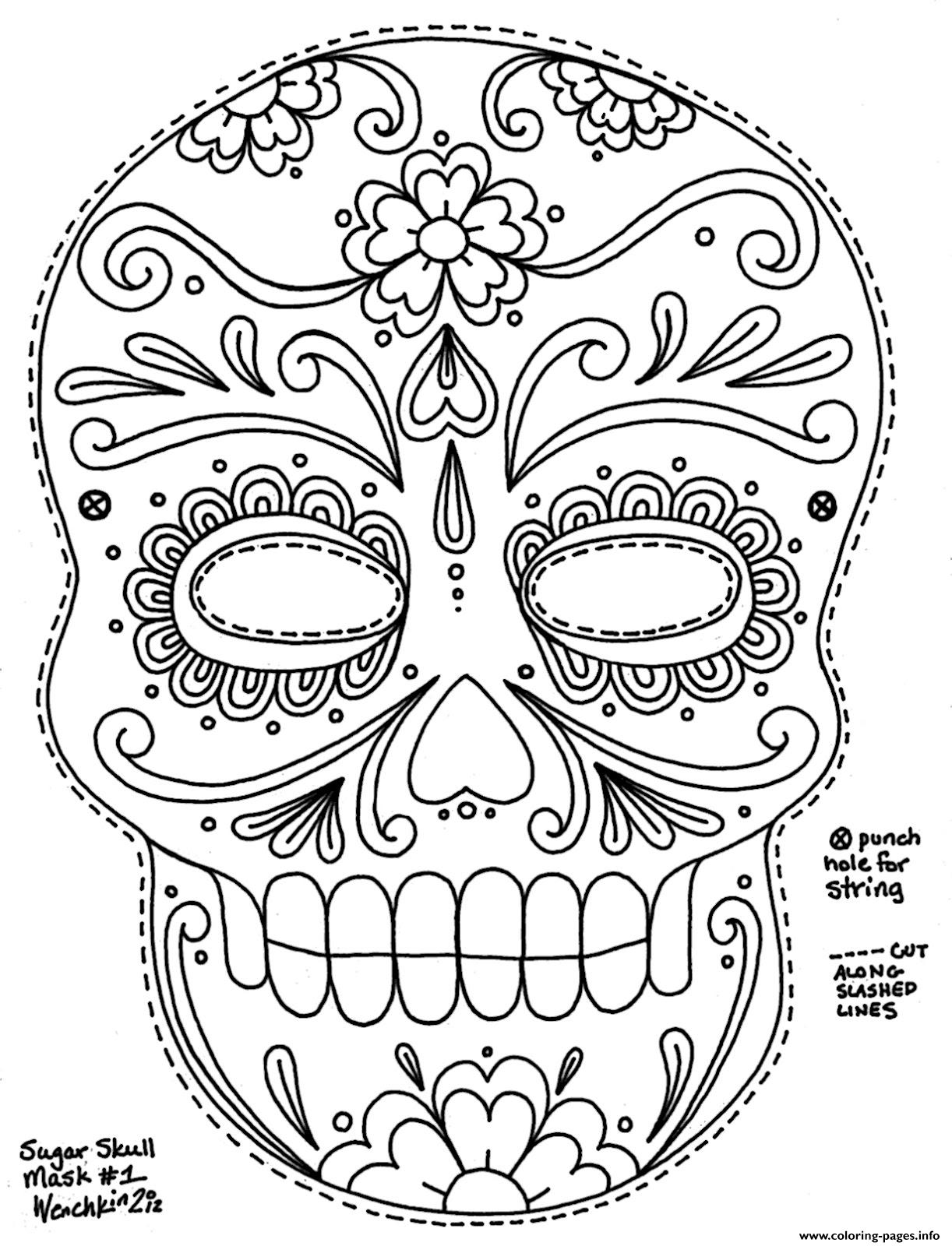 cute sugar skull coloring pages simple adult coloring pages at getcoloringscom free cute coloring skull sugar pages