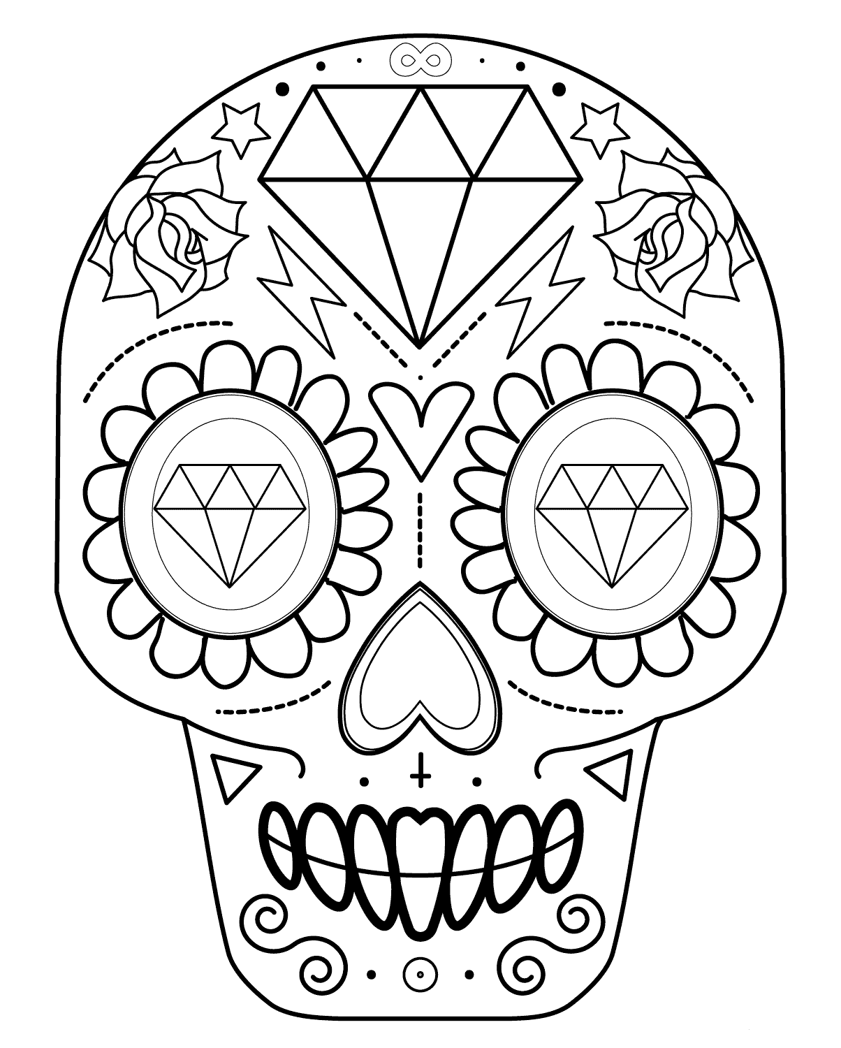 cute sugar skull coloring pages simple skulls and roses drawings sketch coloring page sugar coloring cute pages skull