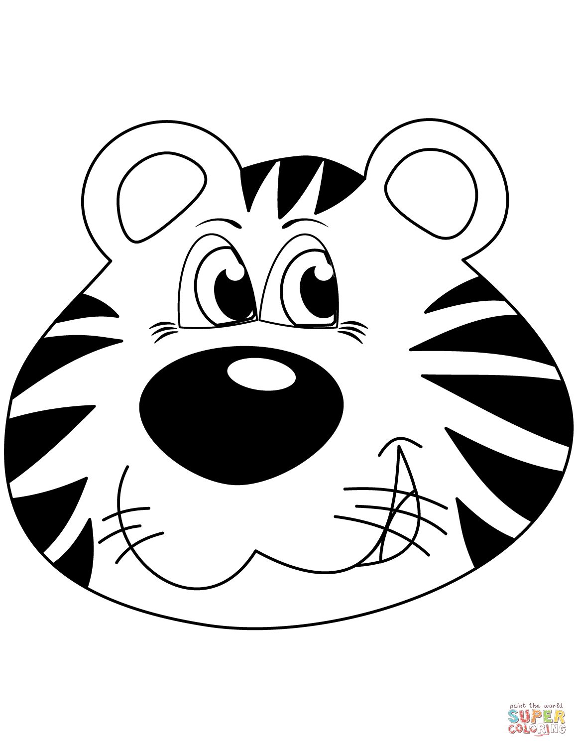 cute tiger face coloring pages cartoon tiger head coloring page free printable coloring tiger face pages cute coloring