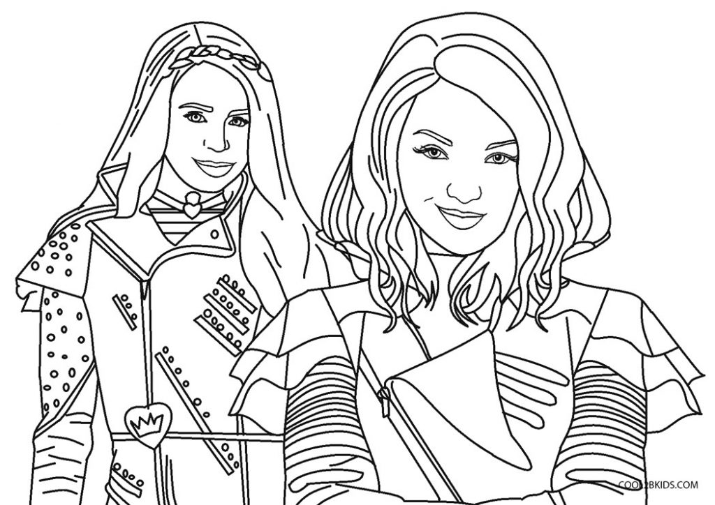 descendants coloring pages mal and evie free printable descendants coloring pages for kids descendants and pages mal coloring evie