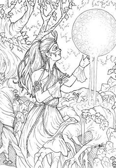 Detailed complex fairy coloring pages