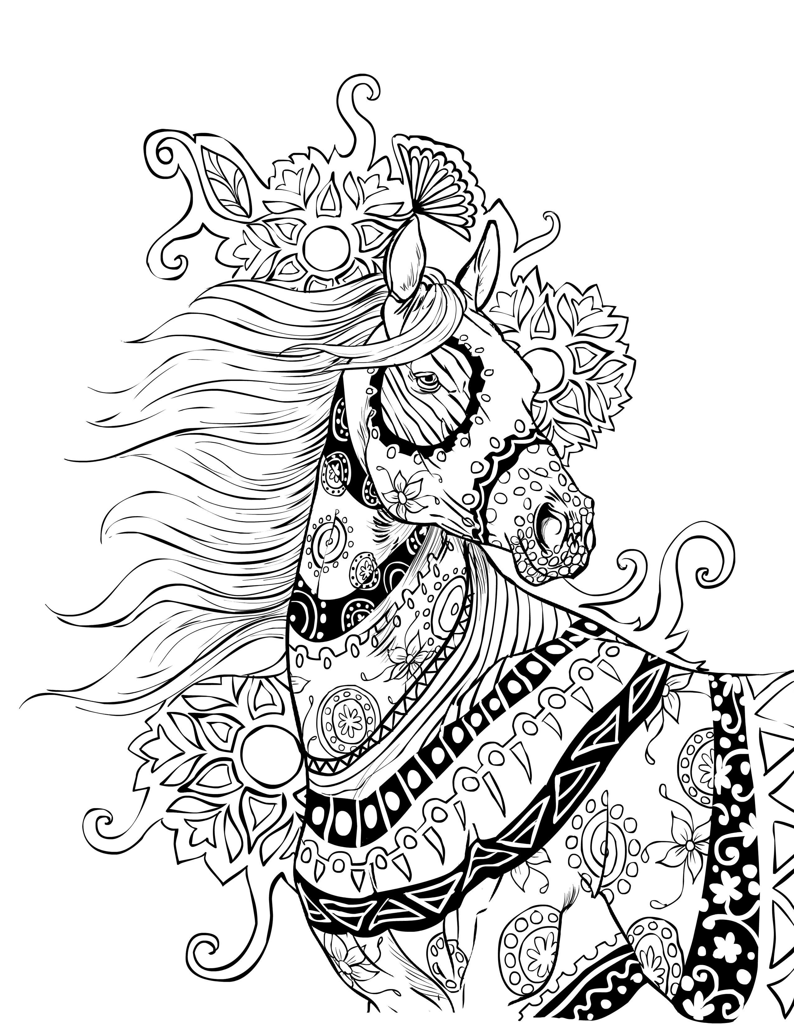 detailed horse coloring pages horse adult coloring page gift wall art mandala zentangle horse detailed pages coloring