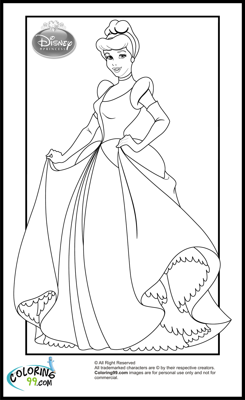 Disney princess coloring worksheets