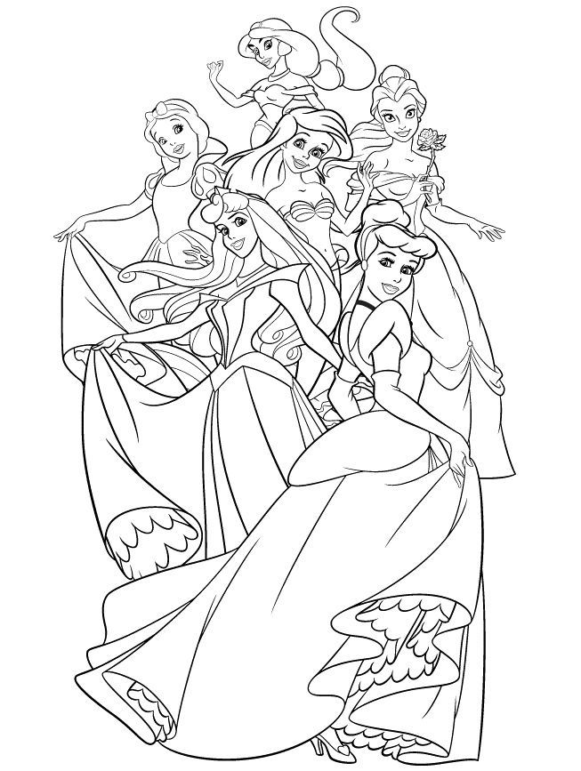 disney princess group coloring pages all disney princesses together coloring pages at princess disney coloring group pages