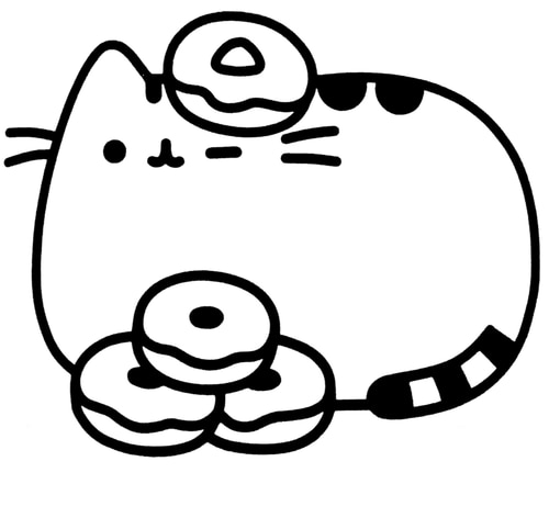 Donut pusheen cat coloring pages