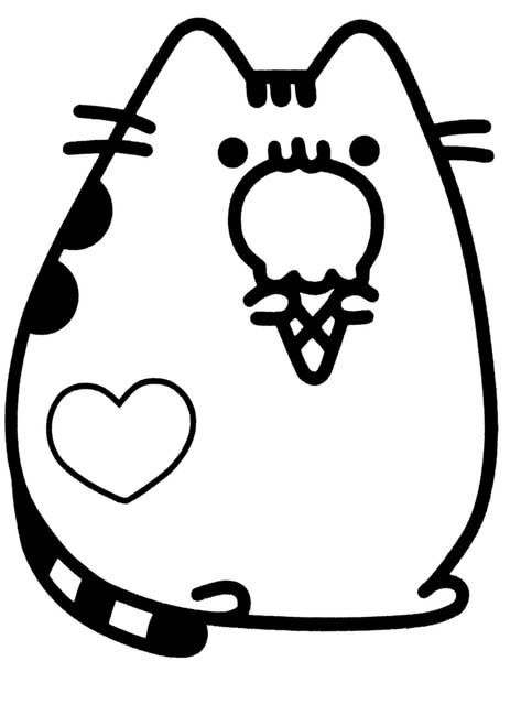 donut pusheen cat coloring pages vinyl decals animated pusheen black pearl custom vinyls pages donut pusheen coloring cat