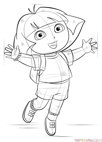 dora the explorer drawing sheets how to draw dora the explorer step by step drawing tutorials dora the drawing sheets explorer