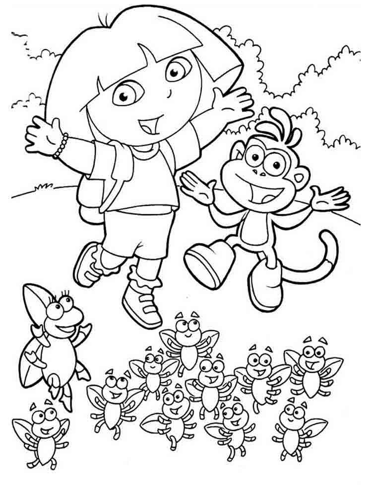 dora the explorer printable coloring pages dora the explorer coloring pages download and print dora dora the printable explorer coloring pages