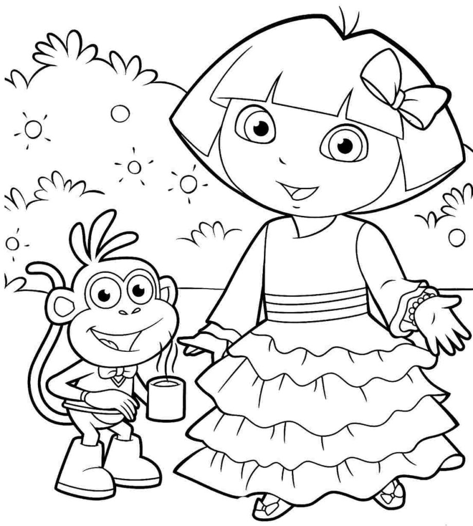 dora the explorer printable coloring pages the best free dora coloring page images download from 884 printable the pages coloring dora explorer