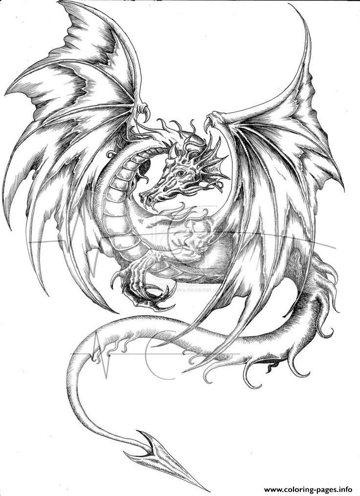 dragon coloring pages hard print adults difficult animals dragons printable free pages dragon coloring hard