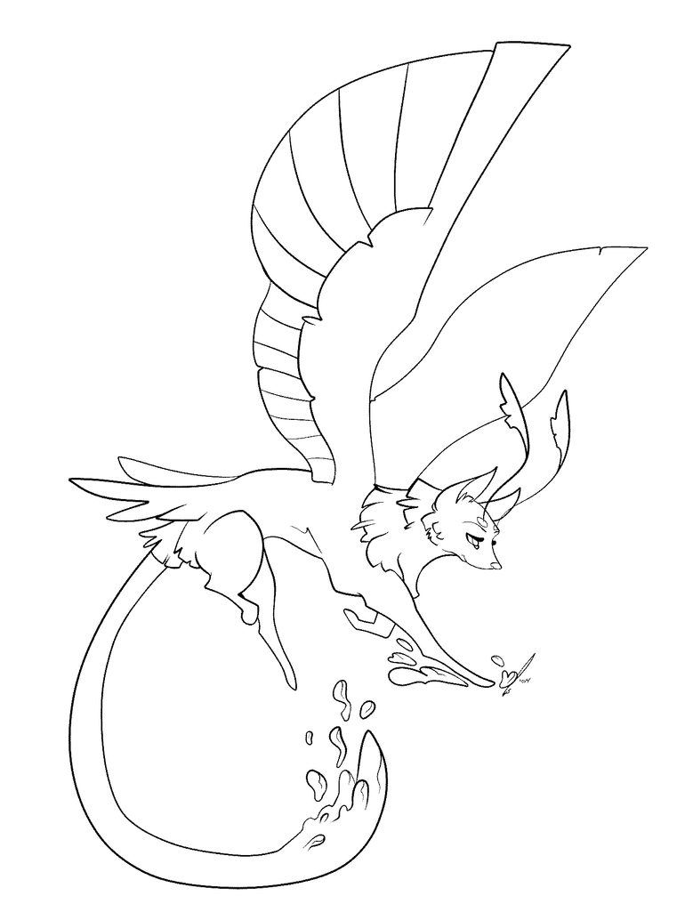 dragon wolf coloring pages dragon winged wolf line art by dansudragon on deviantart coloring dragon pages wolf