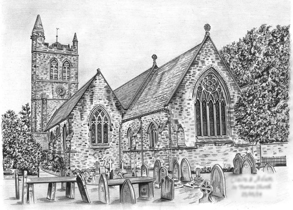 drawing of a church pen and ink drawing demonstration by mike budden of drawing church a