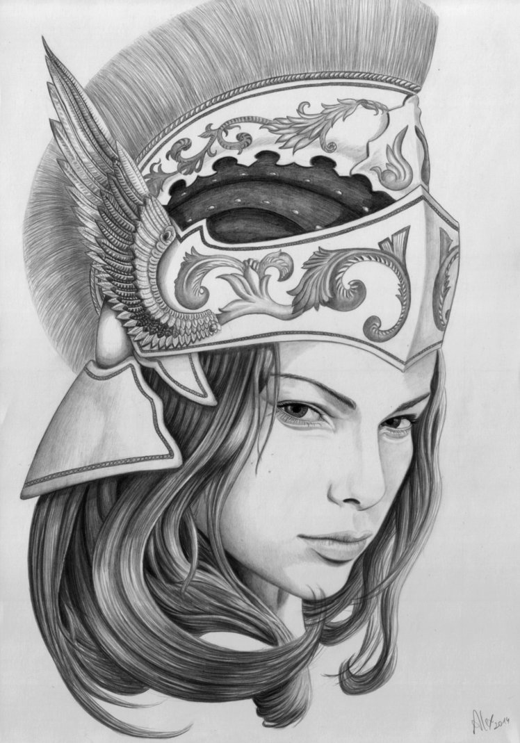 drawing of a goddess athena drawing pencil sketch colorful realistic art of drawing goddess a