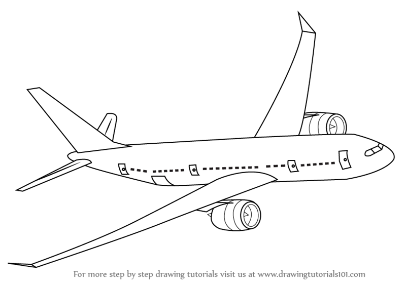 drawing of an airplane learn how to draw flying boeing aeroplane airplanes step airplane of an drawing