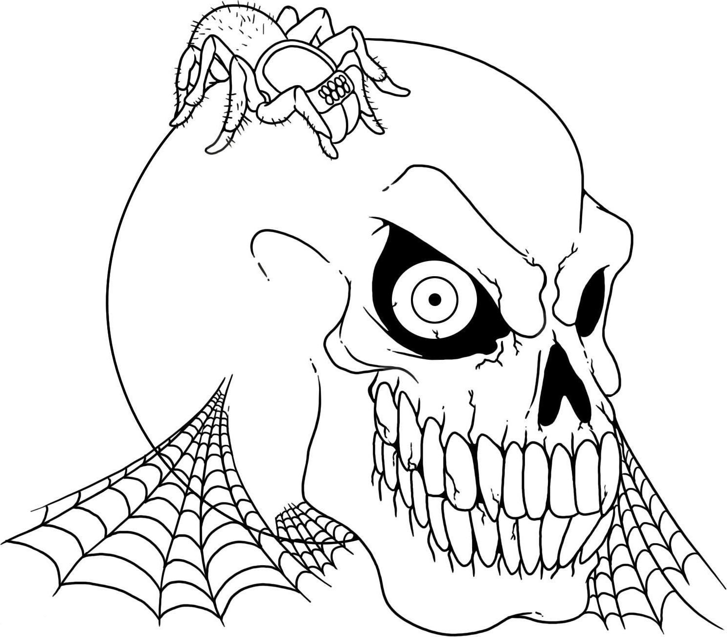 drawings of halloween stuff scary halloween coloring pages free large images skull drawings of halloween stuff