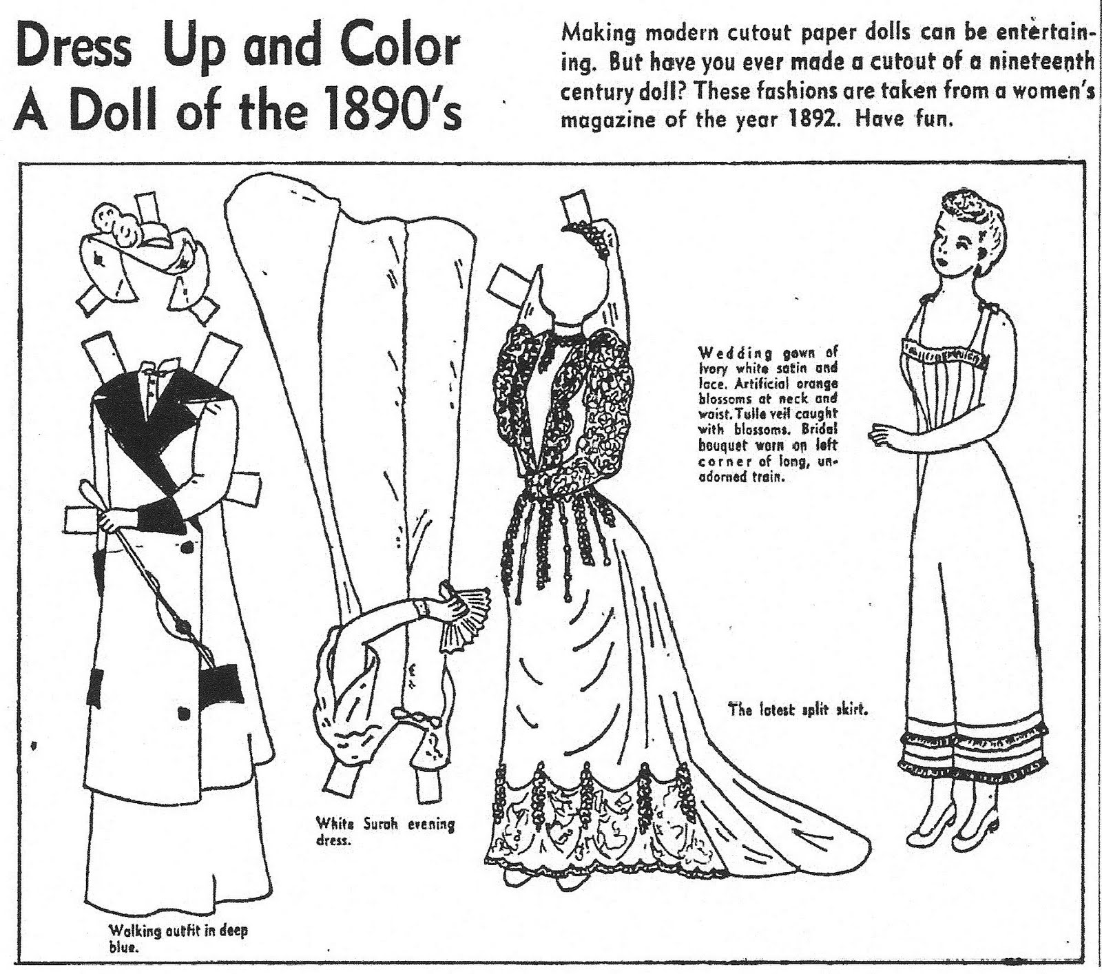 dress up paper dolls mostly paper dolls dress up and color a doll of the 189039s dress up dolls paper