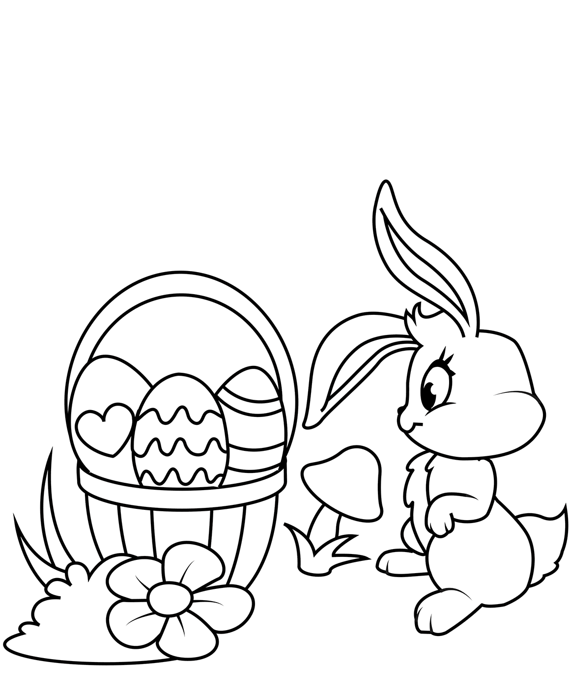 easter bunny basket coloring page easter basket coloring pages bunny coloring page basket easter