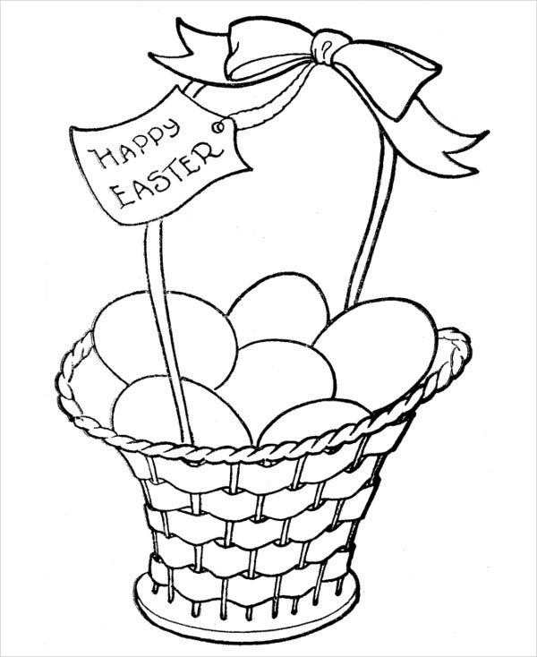 Easter bunny basket coloring page