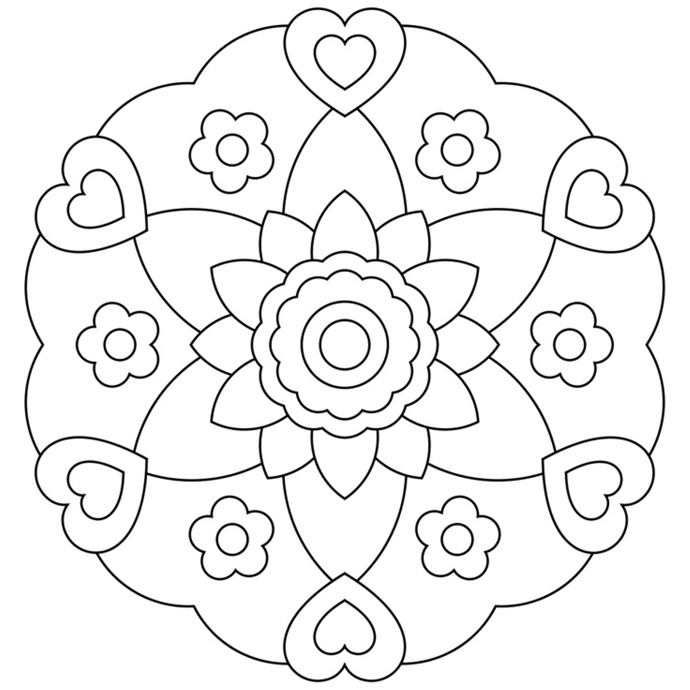 easy flower coloring pages large flower coloring page at getcoloringscom free easy flower pages coloring