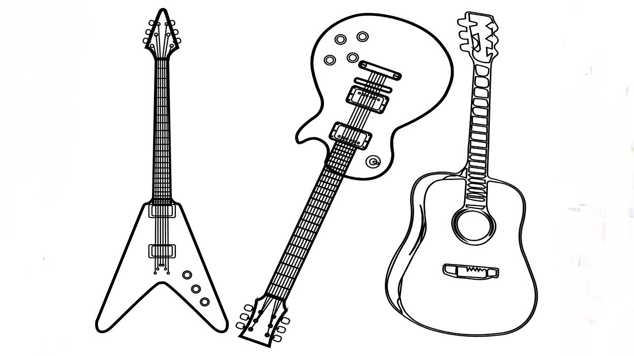 electric guitar coloring page three types of guitar coloring page free printable electric coloring guitar page