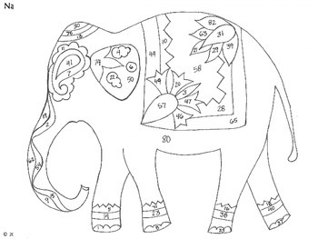 elephant color by number color by number activity students solve addition and by number elephant color