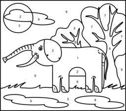 elephant color by number color by number coloring pages free printable color number by elephant