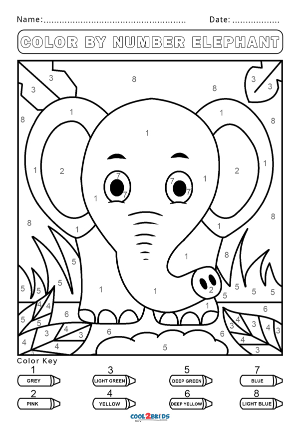 elephant color by number color by numbers elephant coloring pages for kids by number elephant color