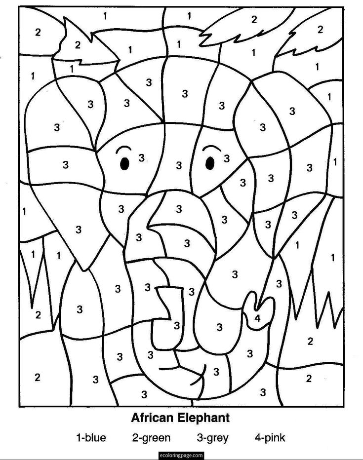 elephant color by number printable color by number pages downloads places to elephant by color number