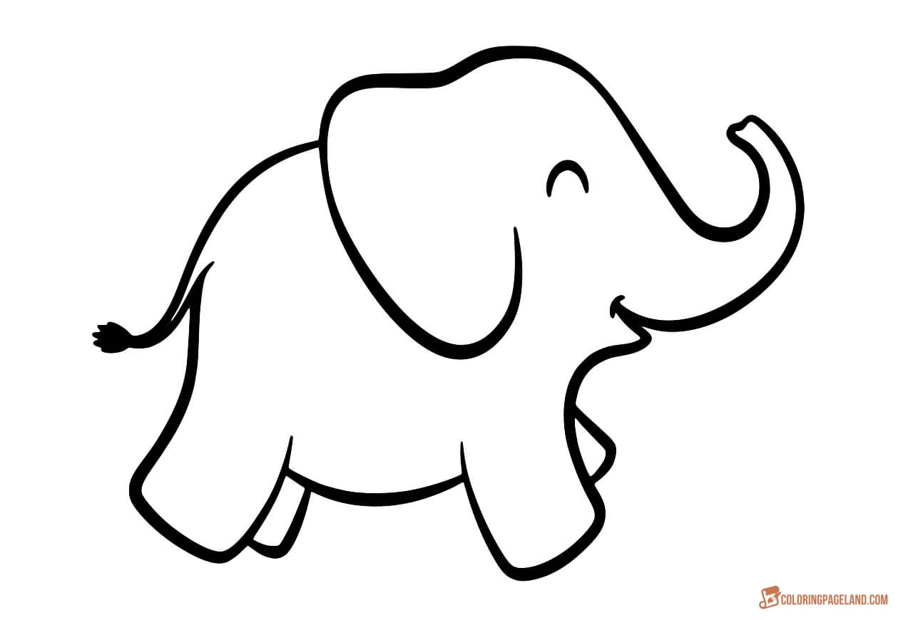 Elephant outline coloring page