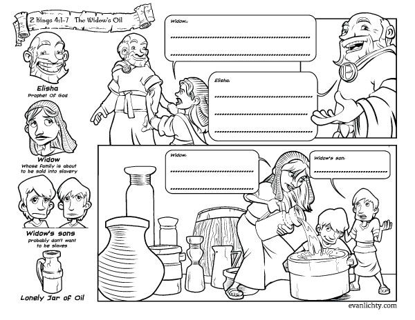 elisha and the widow coloring page the widow and her sons pour oil into all the jars coloring coloring the widow elisha and page